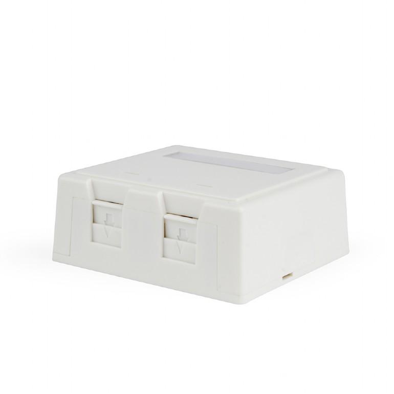 Two jacks surface mount box with cat  5e keystone jacks